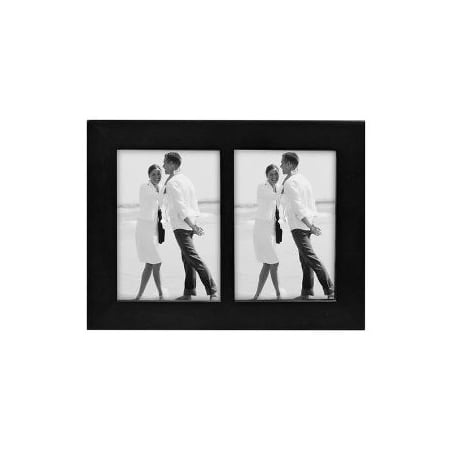 3x5 Split Double Picture Frame LINEAR - Black Wood