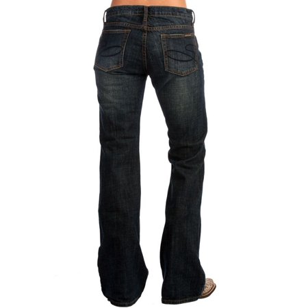 Stetson Apparel Womens  Dark Blasted Low Rise Jeans