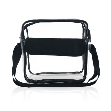 cd3977c55a43 NFL Stadium Approved Clear Messenger Bag   Large 10 Inches Cross Shoulder    Event Security Compliant   Transparent (Black) - Walmart.com
