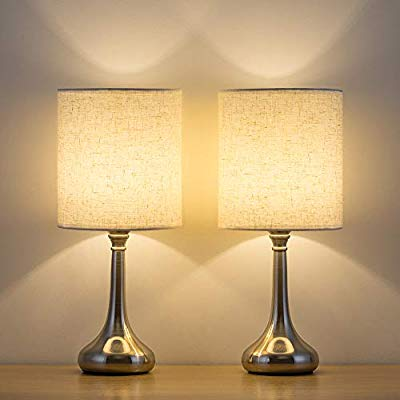 Bedside Table Lamps Set of 2 - Small Modern Nightstand ...