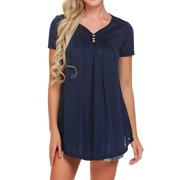 711ONLINESTORE Women Short Sleeve V-Neck Buttons Pleated Tunic Tops