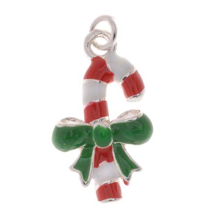 Silver Plated Enamel Charm Christmas Red White Candy Cane With Bow Facing Right 20mm (1) - Candy Charm