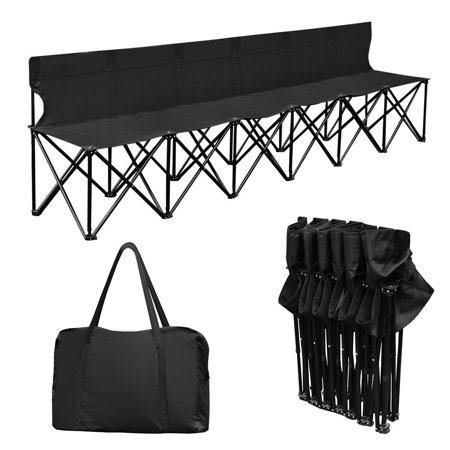 Costway Portable 6 Seats Folding Chair Bench Outdoor Sports Camping W/Carry Bag Black