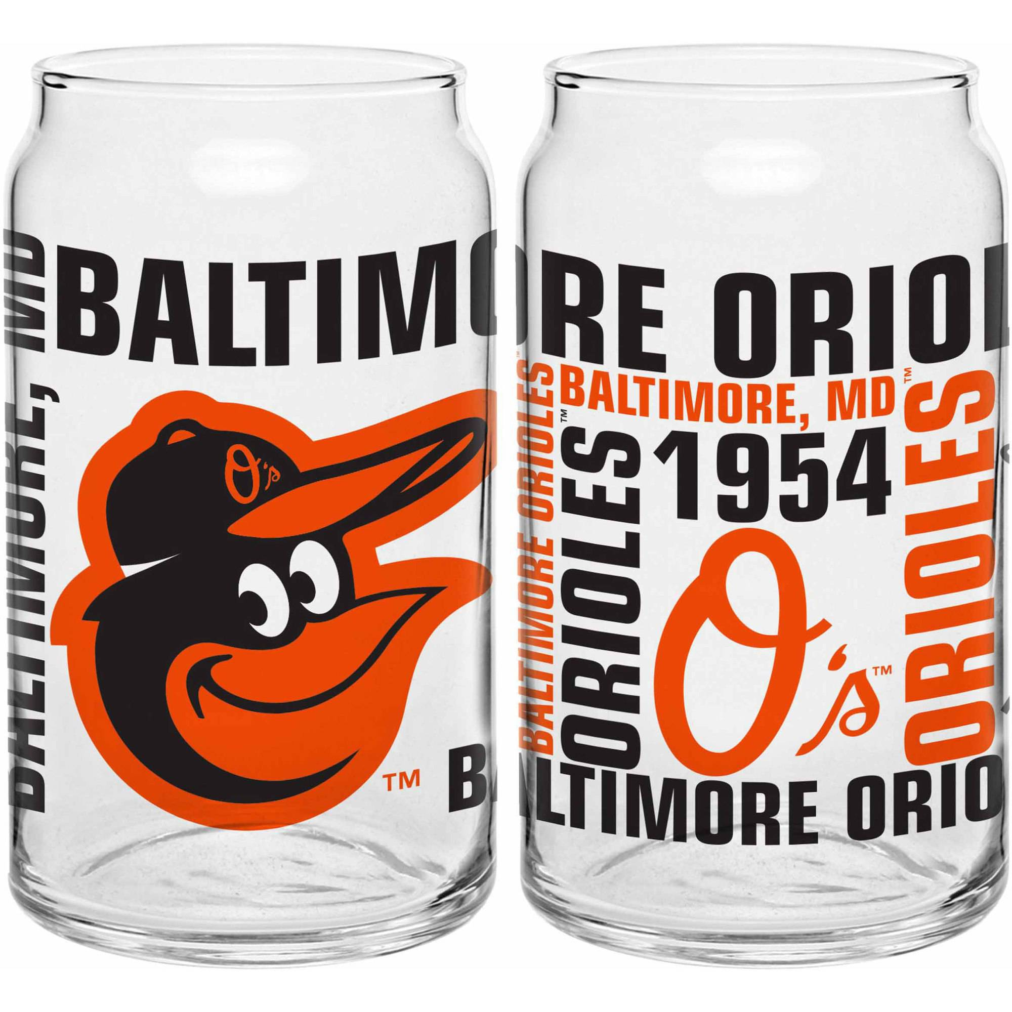 Boelter Brands MLB Set of Two 16 Ounce Spirit Glass Can Set, Baltimore Orioles