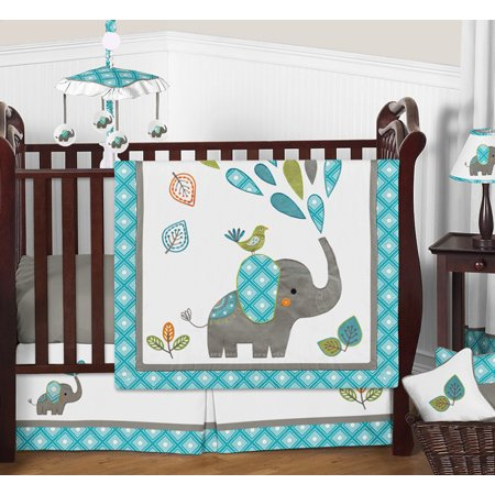 11pc Crib Bedding Set For The Mod Elephant Collection By Sweet Jojo Designs