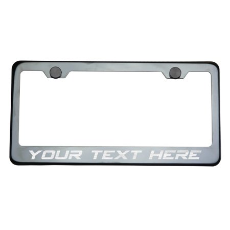 Customize Personalize KA Depot T304 8k Polish Mirror Black Chrome Stainless Steel License Frame with Aluminum Screw Cap
