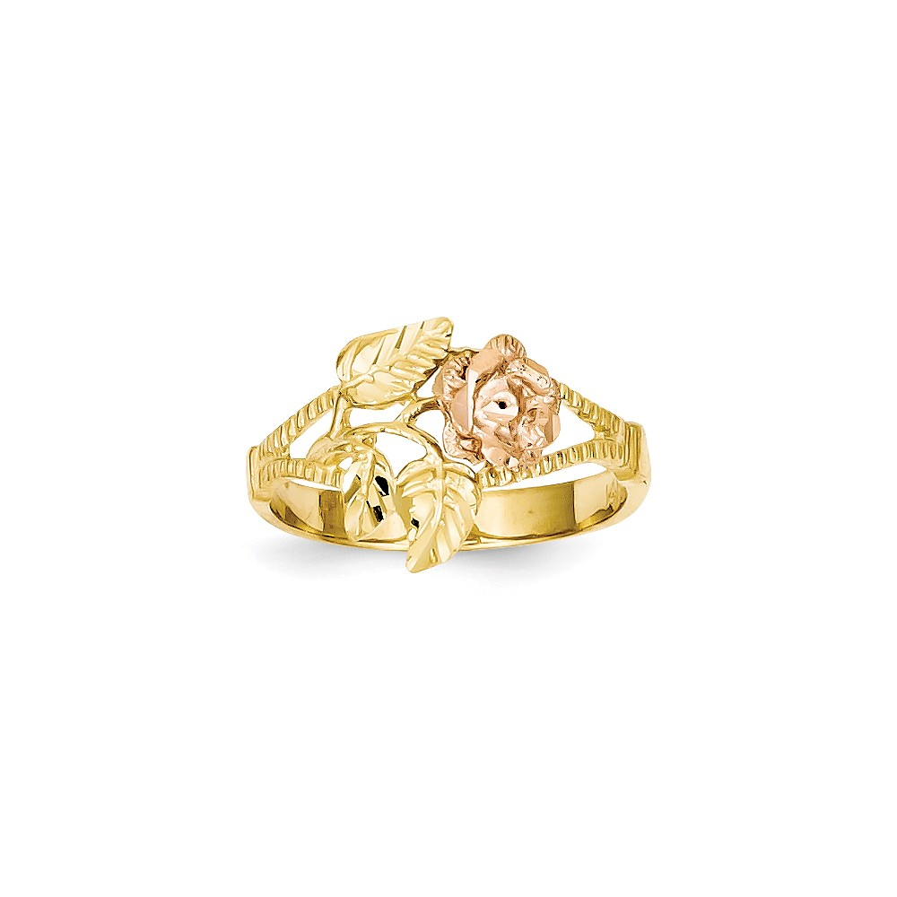 14k Two Tone Gold Polished D/C Rose Ring