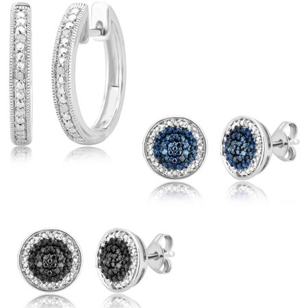 1/7 Carat T.W. Round White, Blue and Black Diamond Rhodium Plated Earrings, 3-Piece Set
