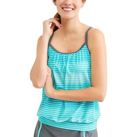 Shirred Tankini Top - Free Tech Women's Sporty Swim Blouson Tankini Top With Adjustable Straps