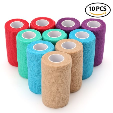10 Rolls 4 Inches x 5 Yards Self Adherent Cohesive Tape - Vet Wrap Bandages for Dog Pet Horse Cat - Assorted Colors