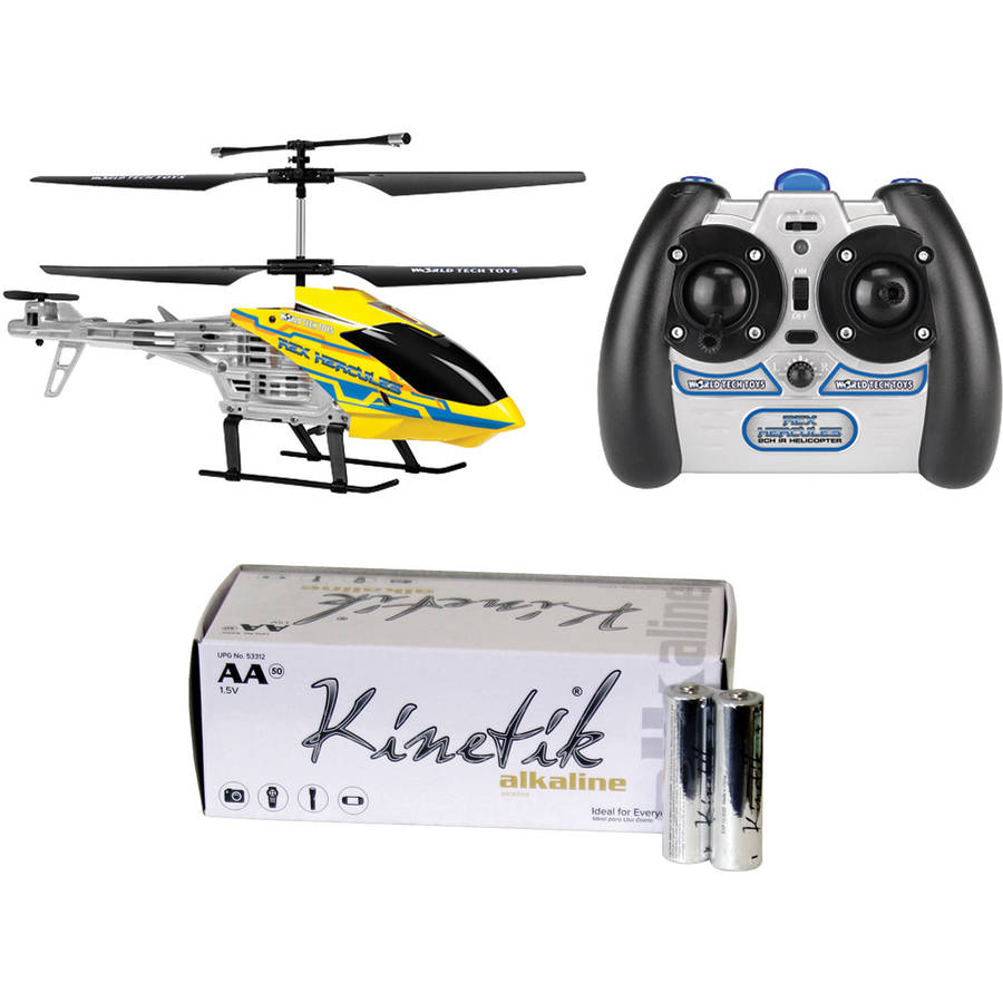World Tech Toys 35041 2-Channel Rex Hercules RC Helicopter and Kinetik AA Battery Kit, 50 Pack
