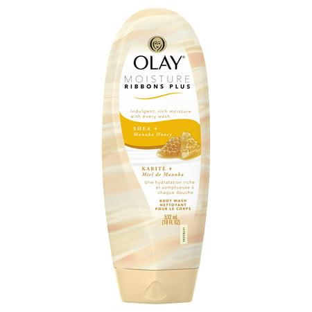 Olay Moisture Ribbons Plus Shea + Manuka Honey Body Wash, 18 oz (Olay Moisture Body Wash)