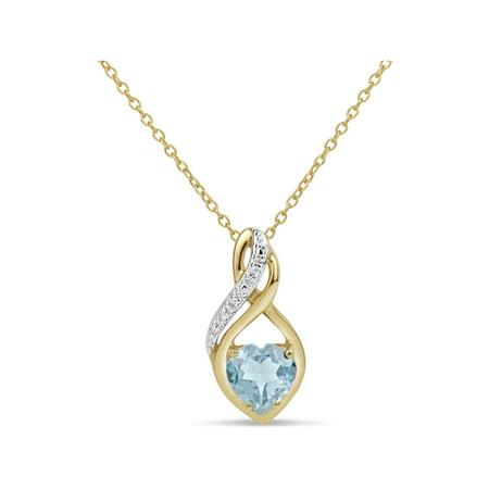 Paraiba Blue Topaz and Round White Topaz Swarovski Genuine Gemstone 18kt Gold Over Sterling Silver Swirl Pendant 18 inches (Gold Genuine Stone)