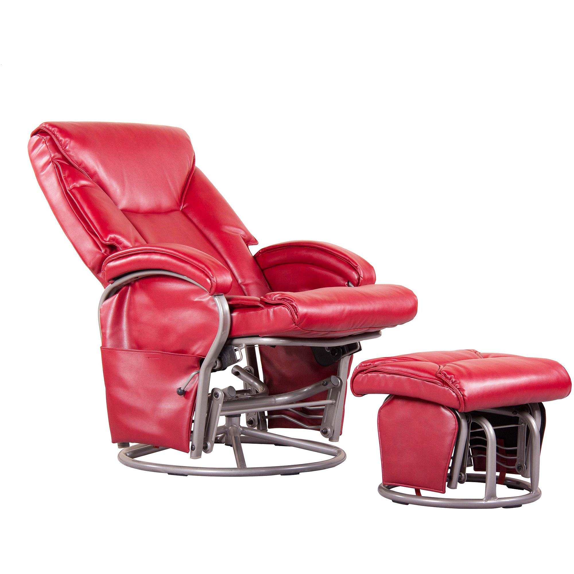 Shermag Swivel Glider Rocker, Bonded Leather, Red