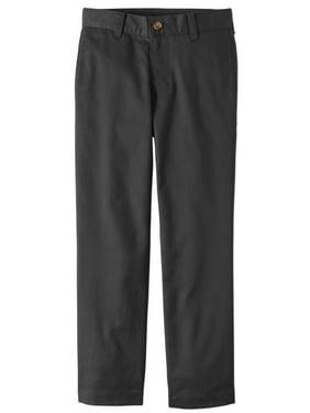 Wonder Nation Boys Slim School Uniform Super Soft Stretch Twill Flat Front Pants (Little Boys & Big Boys)