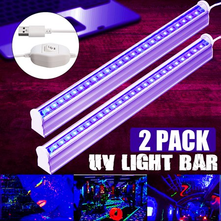 2 Packs UV 24LED Black Light Fixtures Portable Black light Lamp UV Poster UV Art Dimmable Blacklight Lamp for DJ Party and Holidays Authentication Currency/Stain Detector/Decoratio - Uv Lights For Parties