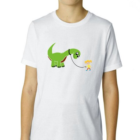 Girl & Pet Dinosaur On Leash - Cute Cartoon Boy's Cotton Youth T-Shirt