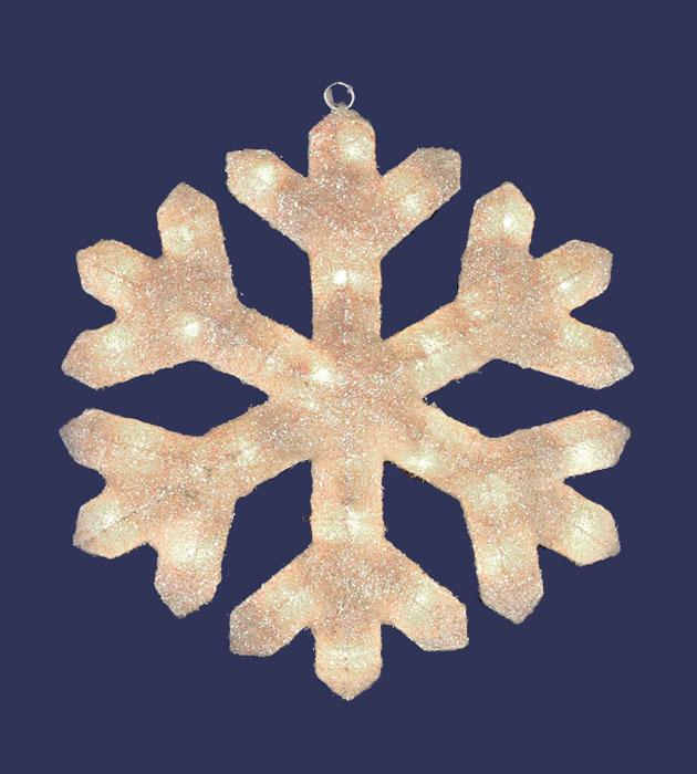 "20"" Lighted Cream Snowflake Sisal Christmas Window or Yard Art Decoration"