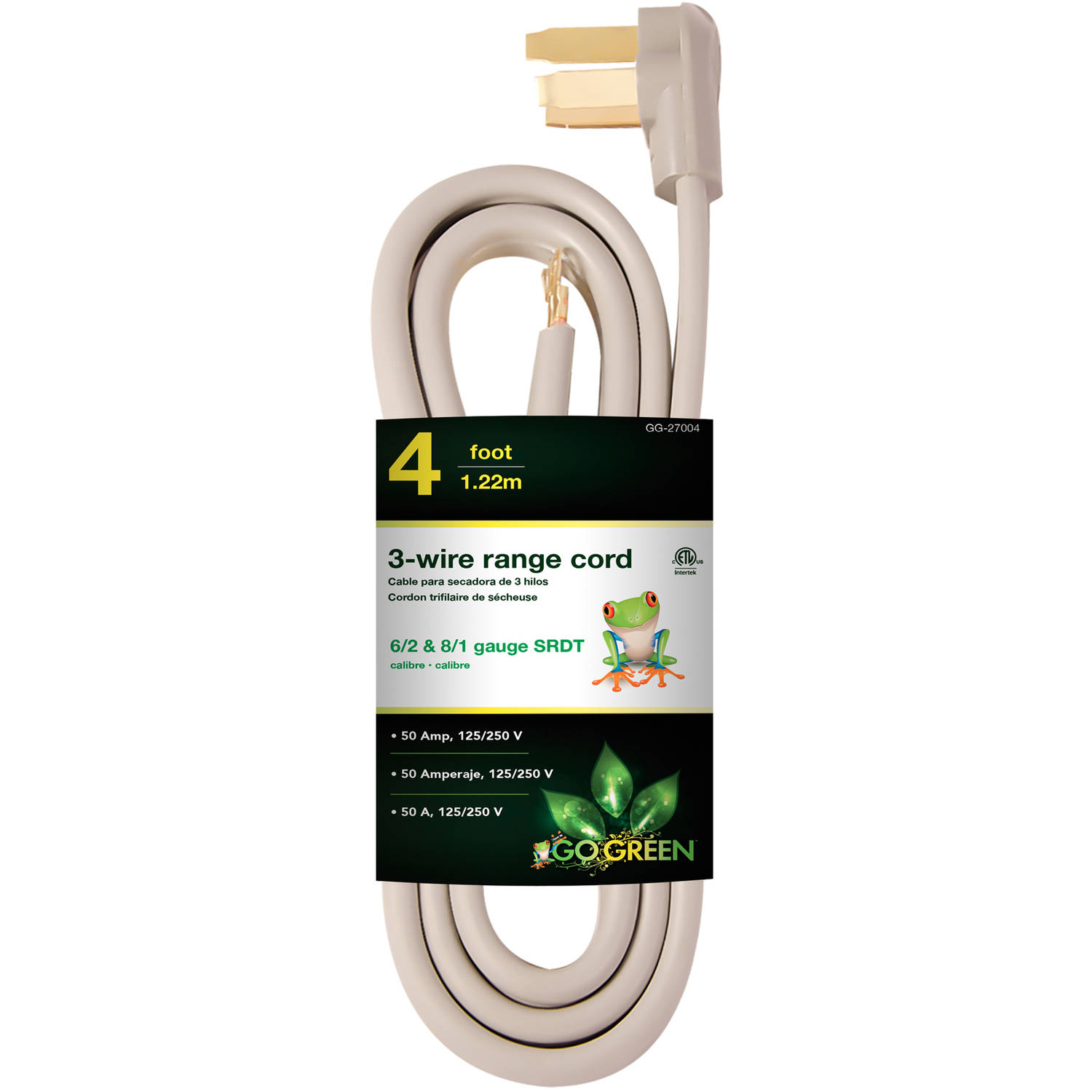 GoGreen Power 4' 3-Wire Range Cord, Gray, 27004