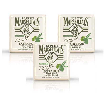 Le Petit Marseillais 72% Extra Pur Bar Soap Enriched with Olive Oil, French-Inspired Bath Soap to Moisturize & Nourish Skin, 7 oz, 3 Pack Olive French Soap