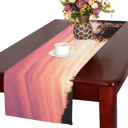 MYPOP Sunset Nature Mountain Wood Red Sky Lake Cotton Linen Table Runner 16x72 inches ()