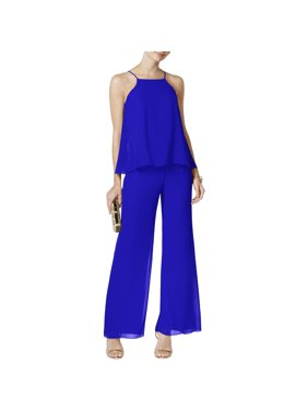 MSK Womens Tiered Halter Jumpsuit Blue 14