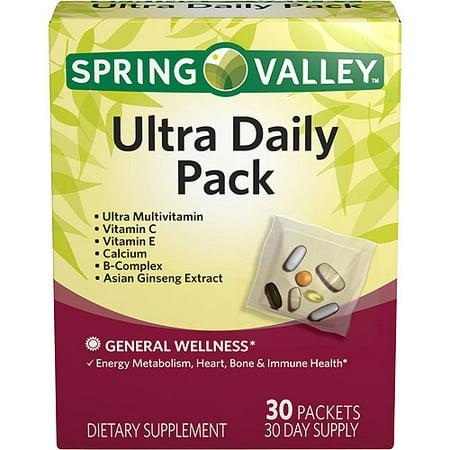 Spring Valley Ultra Daily Pack de vitamines et minéraux pour hommes et femmes supplément alimentaire Packets, 30 count
