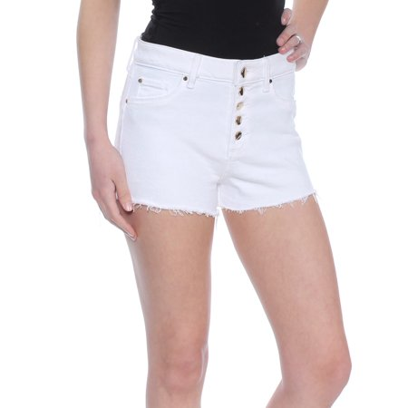 - GUESS Womens White Frayed Short  Size: 26 Waist