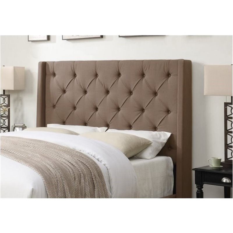Bowery Hill Upholstered Queen Headboard in Taupe