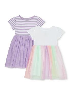 Wonder Nation Baby & Toddler Girl's Short Sleeve Tutu Dresses, 2-pack (Sizes 12M-5T)