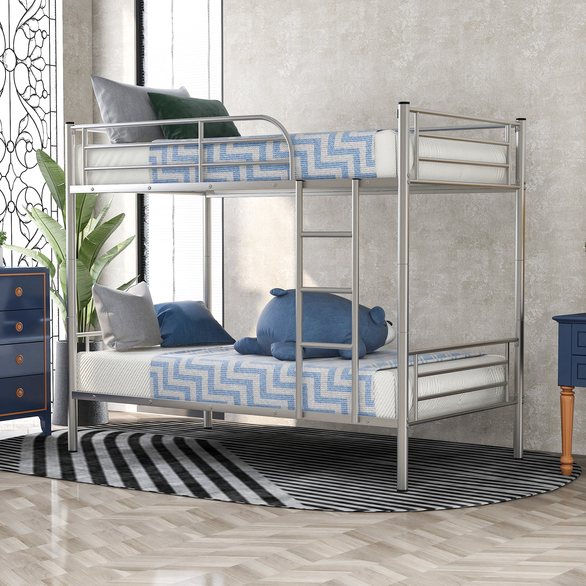 Bunk Beds For Kids Urhomepro Heavy Duty Twin Metal Bunk Beds For Teens Adults Bunk Beds Twin Over Twin With Removable Ladder Space Saving Design Loft Bed For Office Dorm School Home Gray