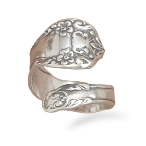 Sterling Silver Oxidized Floral Spoon Ring Adjustable Ring