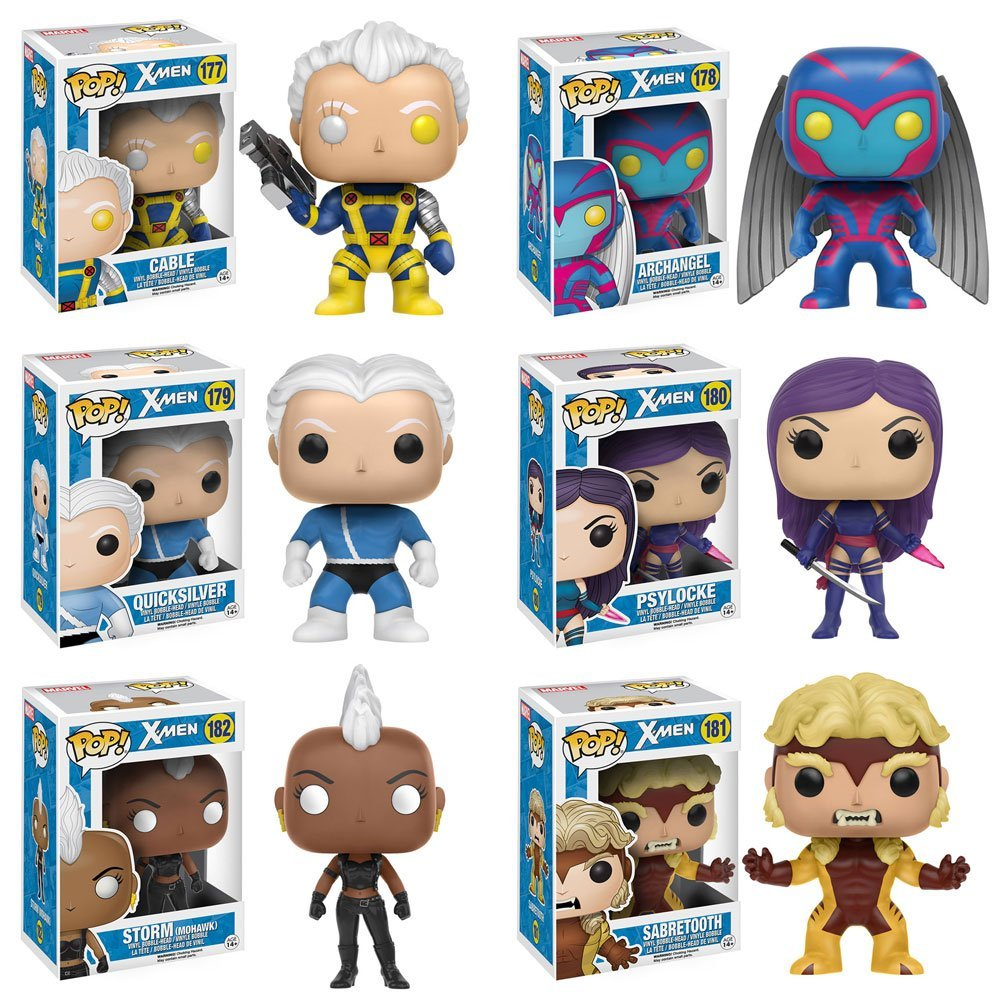 Pop!: Classic X-Men Cable, Storm, Psylocke, Sabretooth, Quicksilver and Archangel! Set of 6 by Funko
