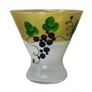 Set of 2 Grapes and Vines Hand Painted Cosmopolitan Wine Glasses - 8.25 Ounces