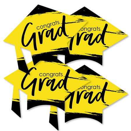 Yellow Grad - Best is Yet to Come - Grad Cap Decorations DIY Yellow Graduation Party Essentials - Set of