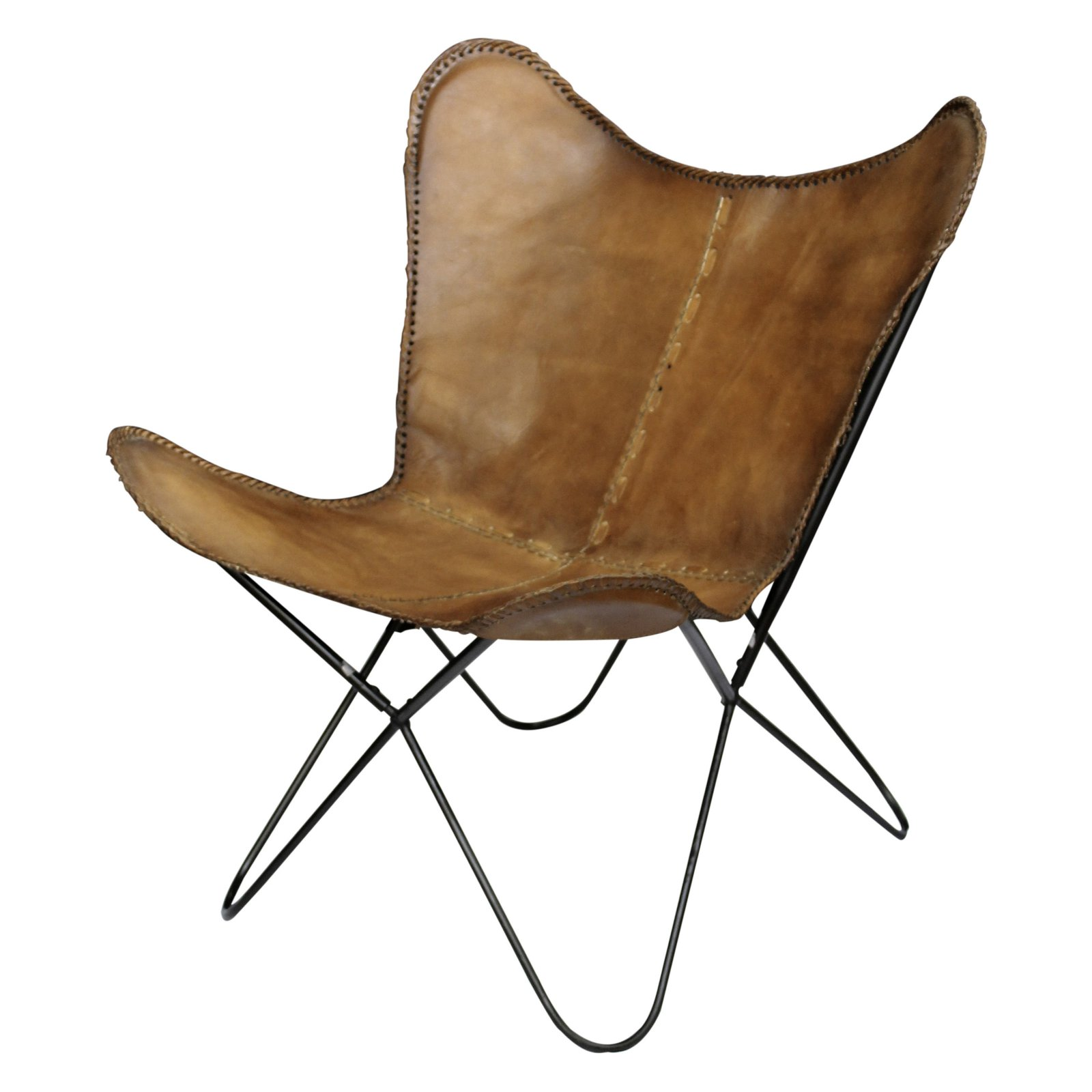 A And B Home Cow Hide Leather Butterfly Chair