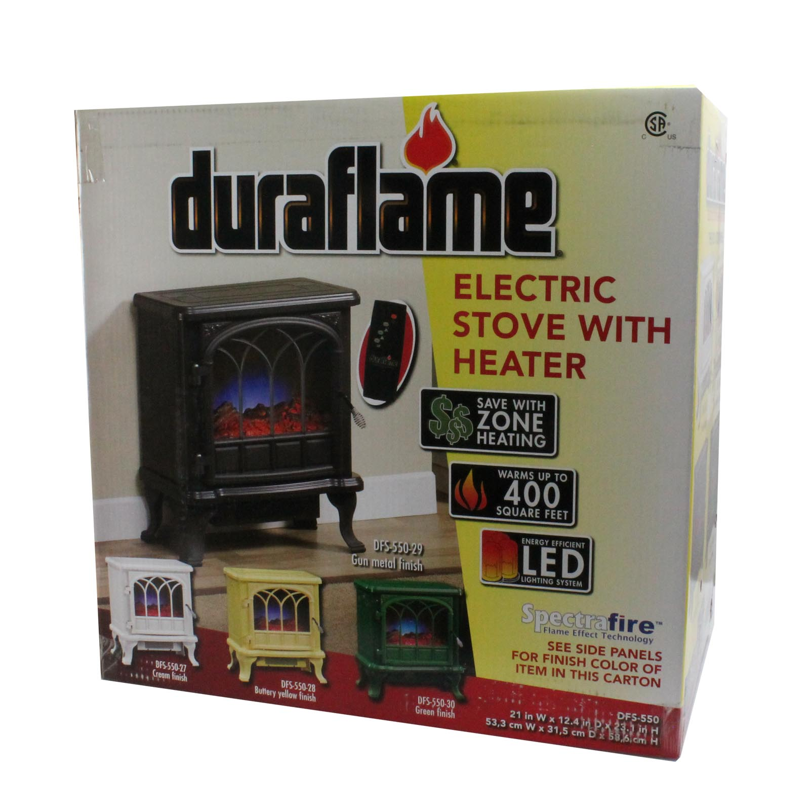 Duraflame 1500W Electric Stove Heater with Flame Effect, Gun Metal ...