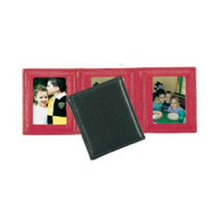 - Budd Leather 552210L-9 Lizard Print Triple Mini Photo Frame - Red