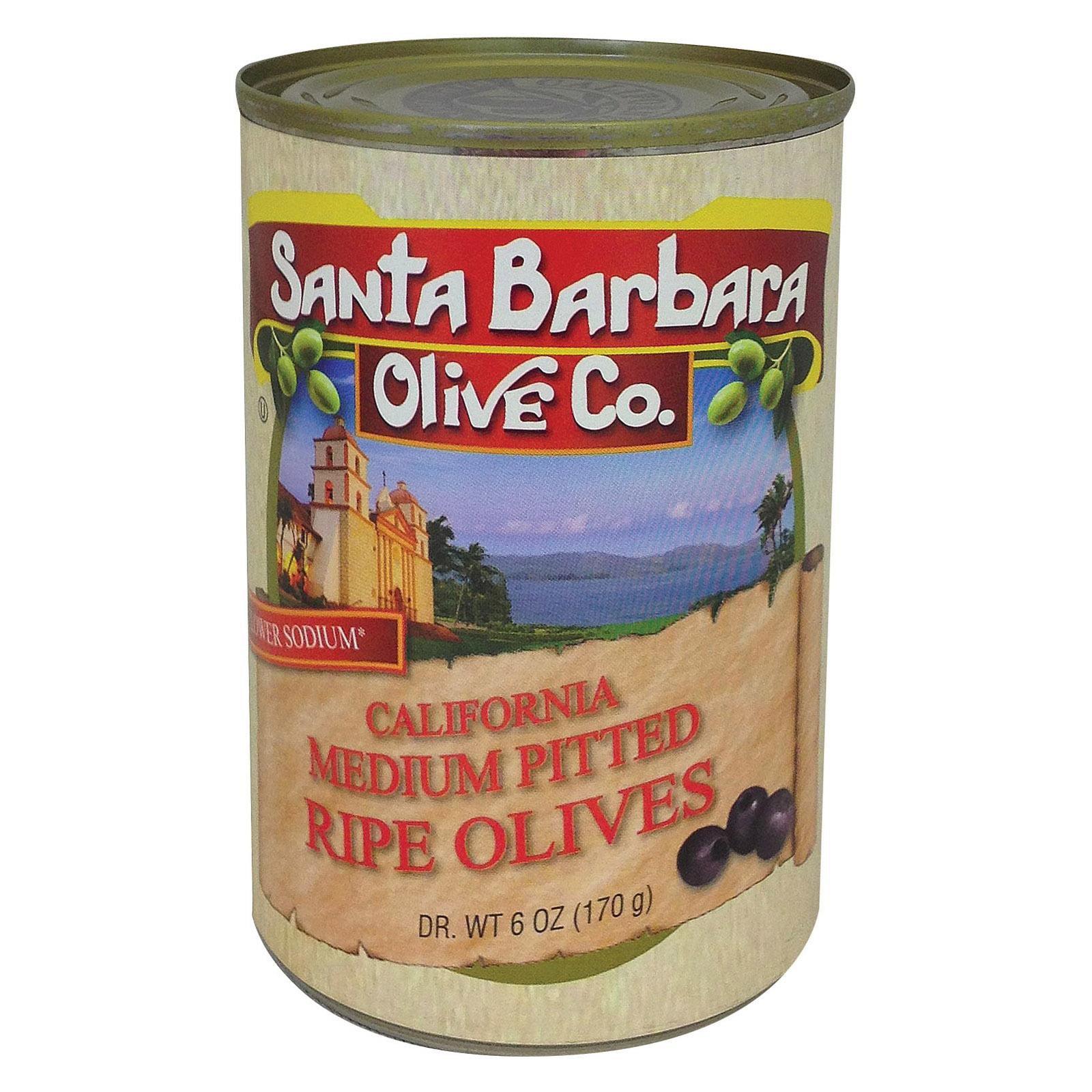 Santa Barbara California Ripe Olives - Medium Pitted - Pack of 12 - 6 Oz.