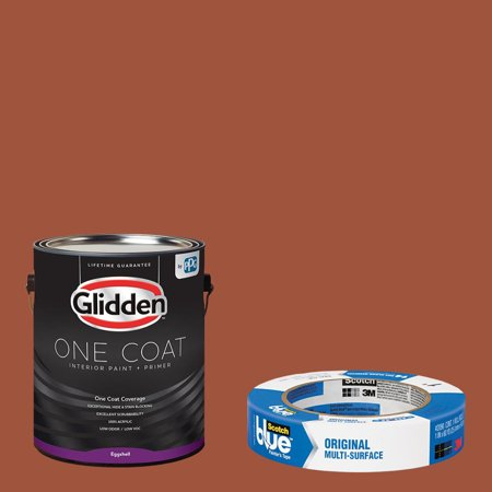 Glidden One Coat, Interior Paint + Primer, Ancient Copper, Semi-gloss Finish, Quart with ScotchBlue Painters Tape Original Multi-Use, .94in x 60yd(24mm x 54,8m (100' Semi Gloss Proofing Paper)