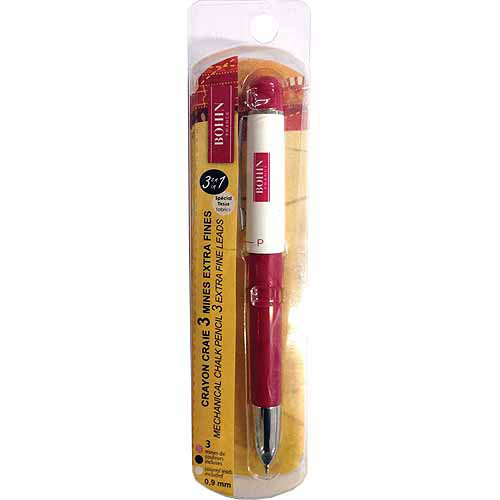 Bohin Mechanical Chalk Pencil, Extra-Fine with 3 Leads