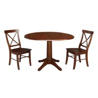 "42"" Round Top Pedestal Dining Table with Two Chairs - Espresso"