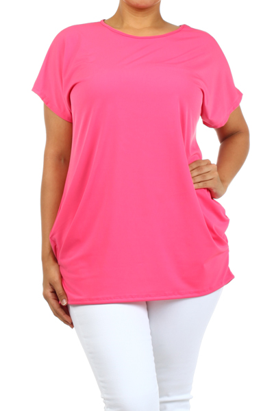 Plus Size Women's Trendy Style Short Sleeves Solid Tunic Top