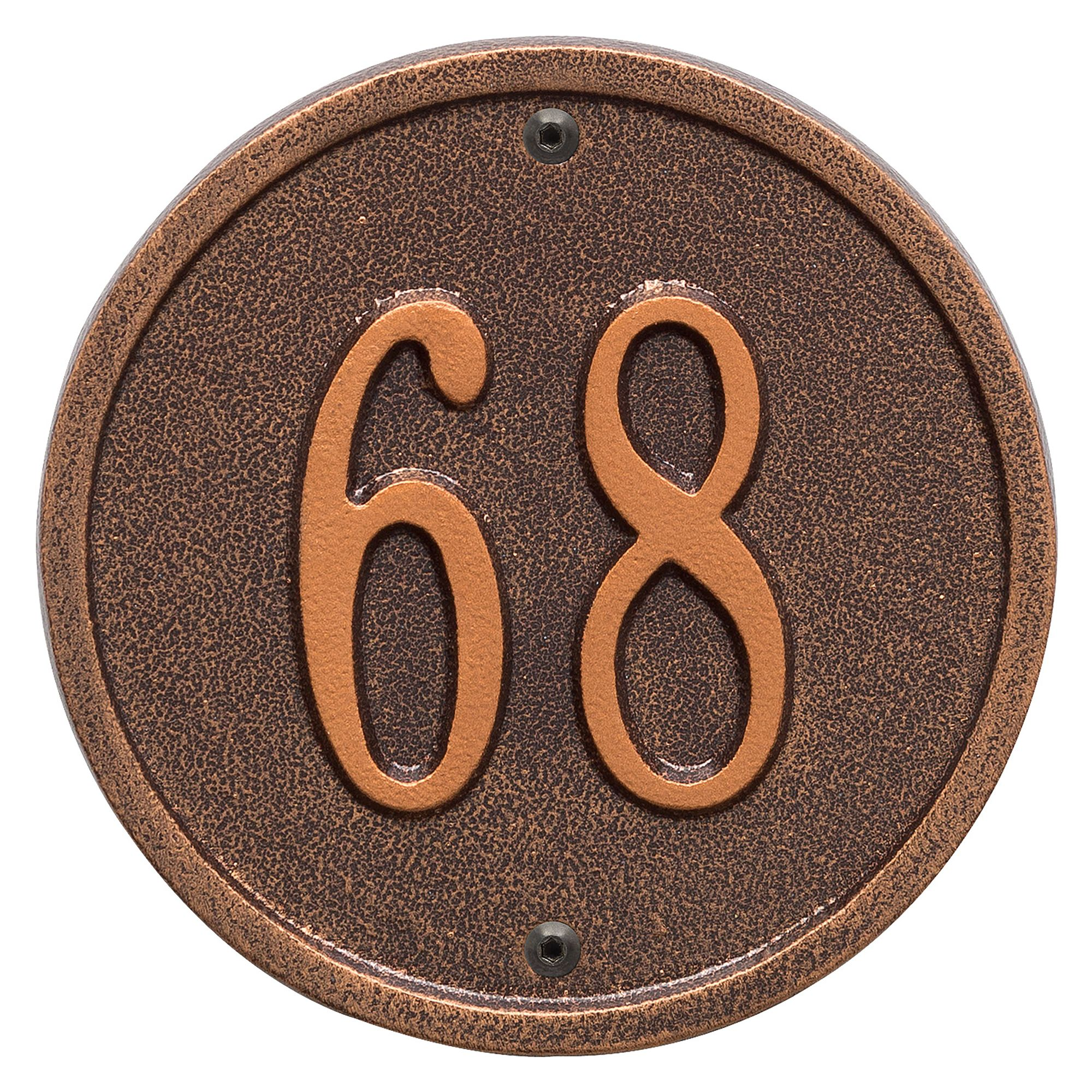 Personalized Whitehall Products 6-Inch One-Line Round Address Plaque in Antique Copper by Whitehall