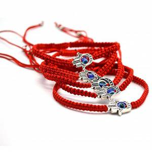 Fancyleo 5 pcs Braided String Bracelets Rotating Evil Eye Fatima Hand Protection Bracelet Red