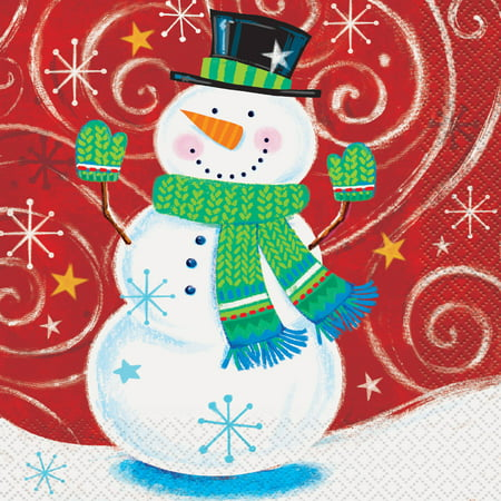 Snowman Swirl Holiday Party Lunch Napkins, 16ct