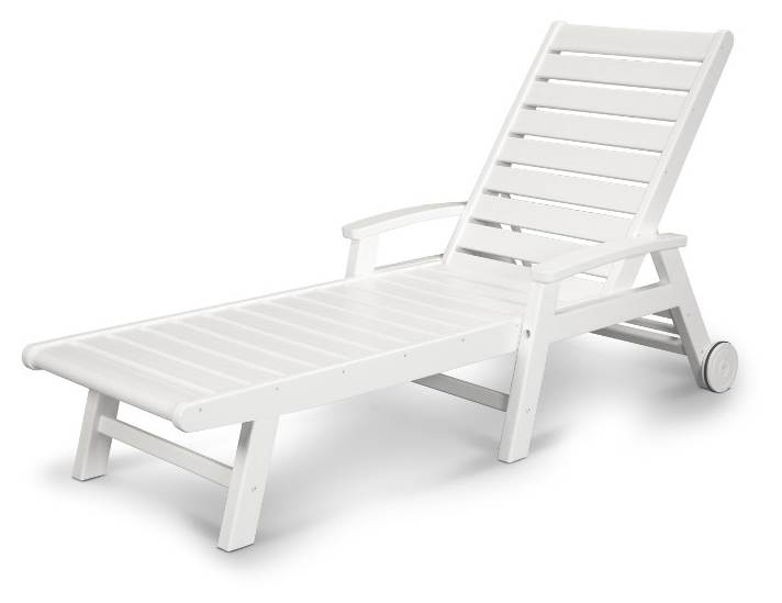 Signature Wheel Chaise Lounge in White by Chaise Lounges