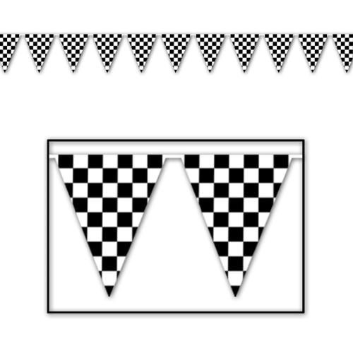 Club Pack of 12 Black and White Checkered Pennant Banner Hanging Decorations 120'
