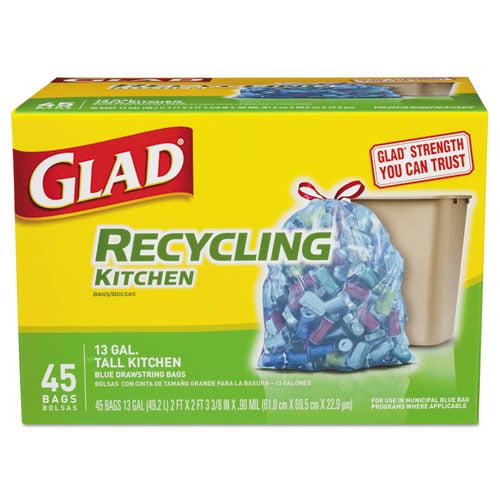 Glad Tall Kitchen Blue Recycling Bags Drawstring 13 gal 0.90 mil 45/Box - CLO78542