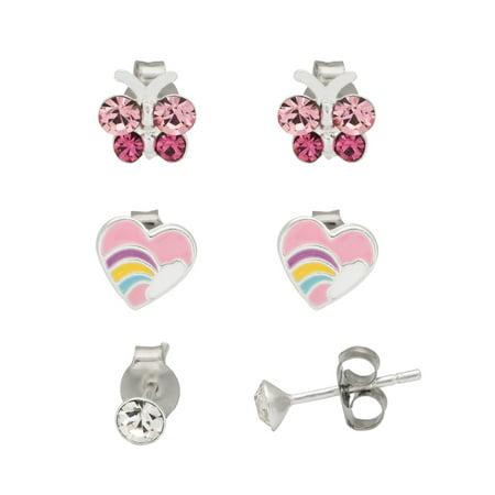 (Sterling Silver Crystal, Butterfly & Heart Stud Earrings Set, 3 pr)